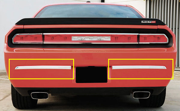 T-Rex 12418:  Dodge Challenger (ALL) 2009 - 2012 T1 Series Rear Bumper Trim - 2 Pc - Polished Aluminum