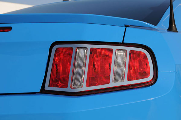 T-Rex 12518:  Ford Mustang V8 2010 - 2011 T1 Series Tail Light Trim - Poished Stainless Steel - 2 Pc