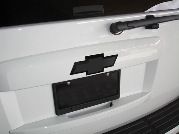 T-Rex 19055B:  Chevrolet Avalanche 2007 - 2013 Billet Bowtie - Rear - w/Border - All Black (10.25'' length)