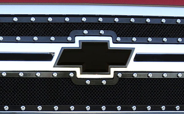 T-Rex 19114B:  Chevrolet Silverado HD 2011 - 2012 Billet Bowtie - w/Border - All Black