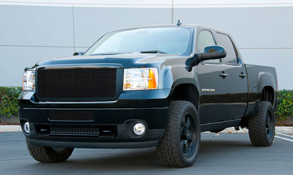 T-Rex (20205B)  GMC Sierra 1500 2007 - 2012 Billet Grille Insert & Overlay/Bolt On - All Black Powdercoat