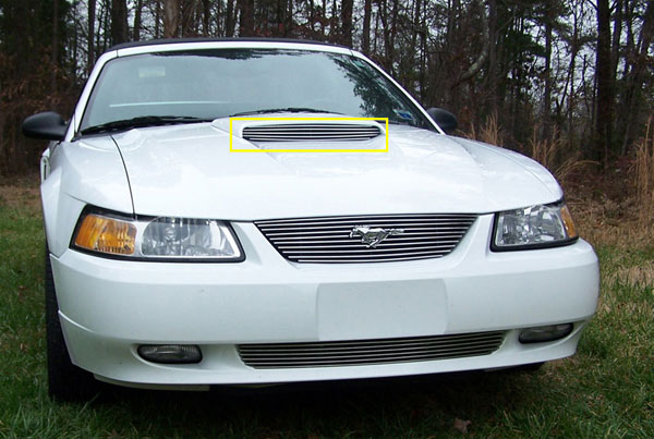 T-Rex 20512:  Ford Mustang GT Models Only 1999 - 2002 Billet Hood Scoop Insert - Will not fit 03-04 Models (5 Bars) - GT MODELS ONLY