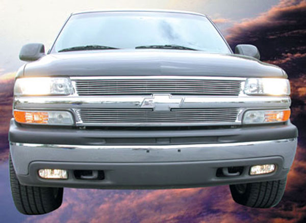 T-Rex 21075:  Chevrolet Suburban/Tahoe, 99-02 Silverado 1999 - 2006 Billet Grille Overlay/Bolt On - 2 Pc (7 Bars)