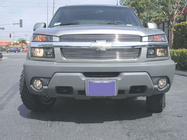 T-Rex 21085:  Chevrolet Avalanche W/Body Cladding 2002 - 2006 Billet Grille Overlay/Bolt On - 2 Pc (7, 11 Bars)
