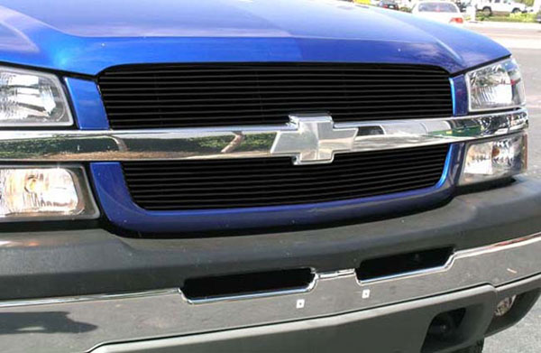 T-Rex 21100B |  Chevrolet Silverado (All Models Except HD) - Billet Grille Overlay/Bolt On & Insert - 2 Pc (10, 9 Bars) - All Black; 2003-2005