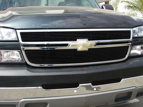 T-Rex 21106B |  Chevrolet Silverado 3500 2500HD, (All Models) - Billet Grille Overlay/Bolt On & Insert - 2 Pc (7, Bars) - All Black; 2005-2006