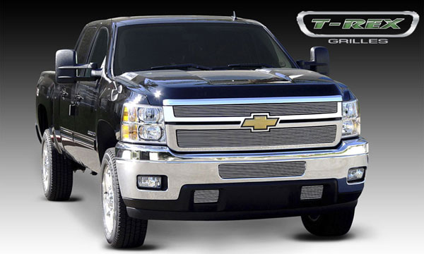 T-Rex 21114:  Chevrolet Silverado HD 2011 - 2012 Billet Grille Overlay/Bolt or Insert On - 2 Pc