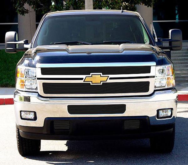 T-Rex 21114B |  Chevrolet Silverado HD 2011 - 2012 Billet Grille Overlay/Bolt or Insert On - 2 Pc - All Black