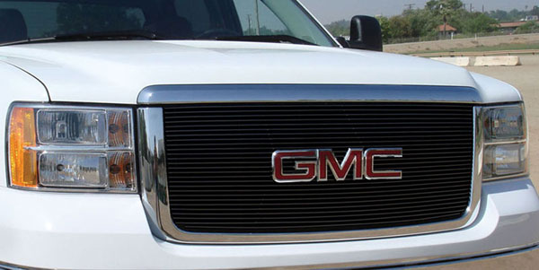 T-Rex 21206B:  GMC Sierra 2500HD, 3500 2007 - 2010 Billet Grille Insert & Overlay/Bolt On - OE Logo Mounts on Billet (27 Bars) - All Black