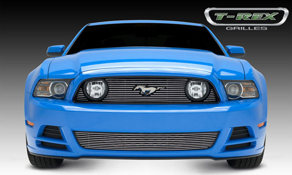 T-Rex 21525:  Ford Mustang GT 2013 - 2013 Billet Grille Overlay - 3 Pc's - with OE Logo cutout