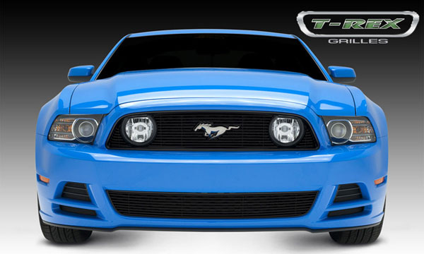 T-Rex 21525B:  Ford Mustang GT 2013 - 2013 Billet Grille Overlay - 3 Pc's - with OE Logo cutout - All Black