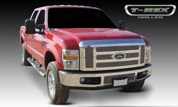 T-Rex 21563:  Ford Super Duty (Except FX4) 2008 - 2010 Billet Grille Overlay/Bolt On - 6 Pc