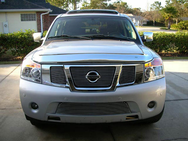 T-Rex 21784:  Nissan Armada 2008 - 2012 Billet Grille Overlay/Bolt On Insert - 3 Pc - W/ Logo Opening