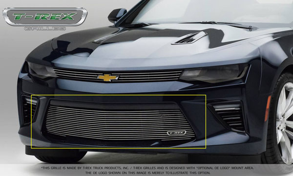 T-Rex 25036: Camaro 2016 SS Bumper Grille Overlay with Polished Steel Finish