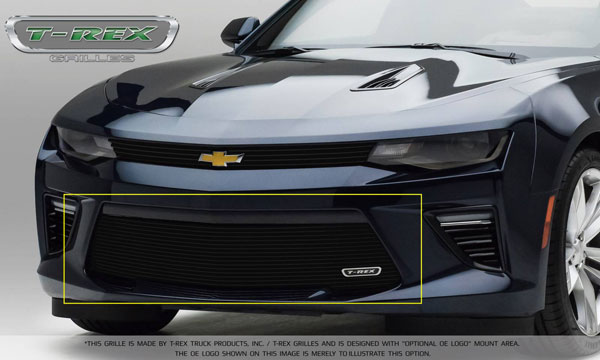 T-Rex 25036B:  Camaro 2016 SS Bumper Grille Overlay with Black Powder Coated Finish
