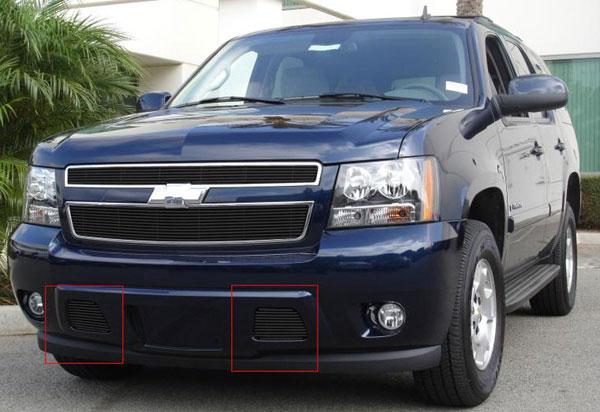 T-Rex 25051B |  Chevrolet Tahoe, Suburban, Avalanche (Except Z71) - Bumper Billet Grille - Remove Tow Hooks - 2 Pc (11 Bars) - All Black; 2007-2013