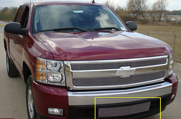 T-Rex 25110:  Chevrolet Silverado 1500 & 07-10 HD 2007 - 2013 Bumper Billet Grille Insert (Lower Air Dam between tow hooks)