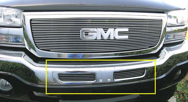 T-Rex 25201:  GMC Sierra (All Models except C3) 2003 - 2006 Bumper Billet Grille Insert - Top Bumper Openings - 2 Pc Look (5 Bars)