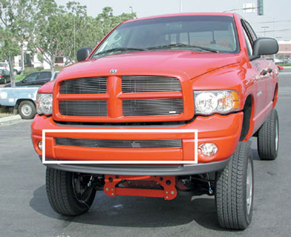 T-Rex 25466:  Dodge Ram Sport Model (Except Diesel) 2002 - 2005 Bumper Billet Grille Insert - Use w/Painted Bumpers (Sport Bumper) (Except Diesel)