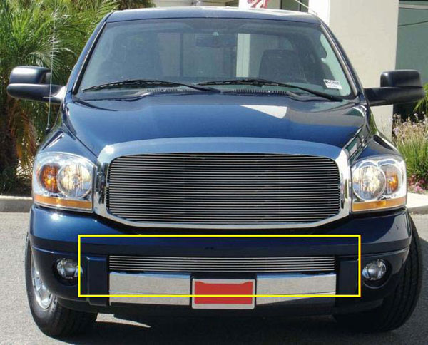 T-Rex 25467 |  Dodge Ram Pick Up - Laramie 2006 - 2008 Bumper Billet Grille Insert - Full Opening - Remove Hooks