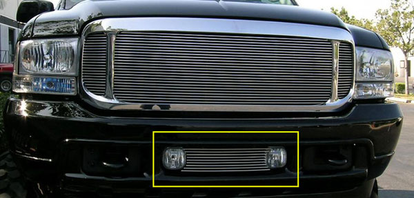 T-Rex 25567:  Ford Super Duty, Excursion 1999 - 2004 Bumper/Air Dam Billet Grille Insert - Fits Between OE Fog Lamps (9 Bars)