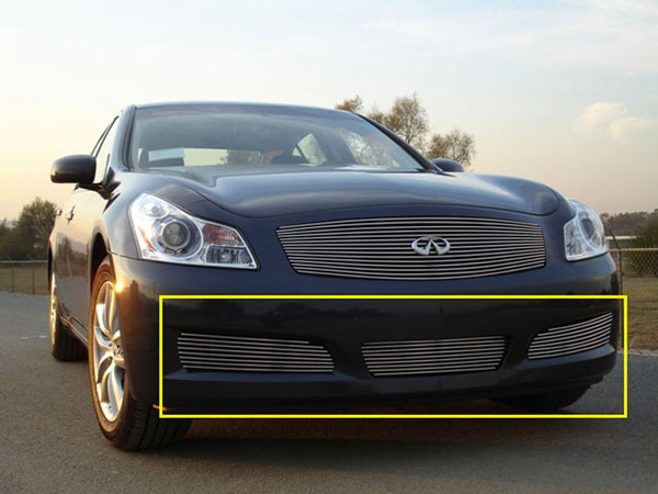 T-Rex 25809:  Infiniti G-35 Sedan 2007 - 2008 Bumper Billet Grille - 3 PC (Except road sensing cruise & 6MT Models)
