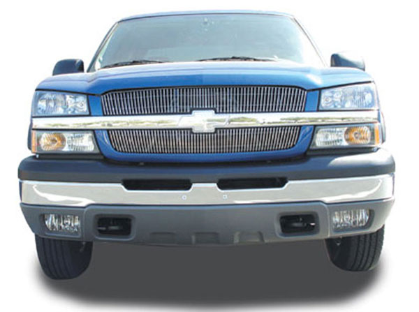 T-Rex 31100:  Chevrolet Silverado (All Except 05 HD) 2003 - 2005 VERTICAL Billet Grille Overlay/Bolt - 2 Pc (65 & 63 Bars)