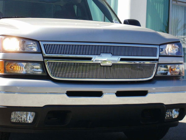 T-Rex 31106 |  Chevrolet Silverado 3500 2500HD, (All Models) - VERTICAL Billet Grille Overlay/Bolt On & Insert; 2006-2006