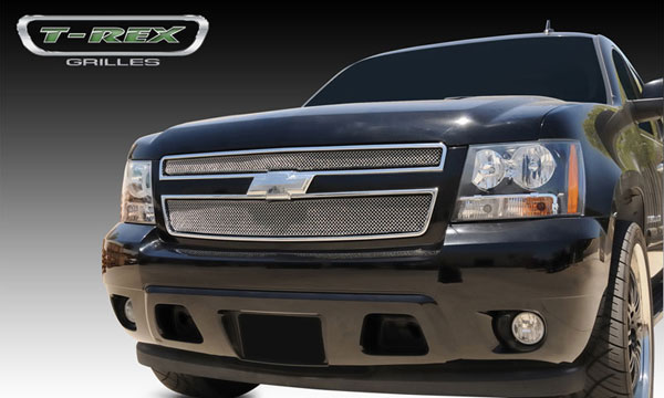 T-Rex 44051:  Chevrolet Tahoe, Suburban, Avalanche 2007 - 2013 Sport Series Formed Mesh Grille - Stainless Steel - Triple Chrome Plated - 2 Pc
