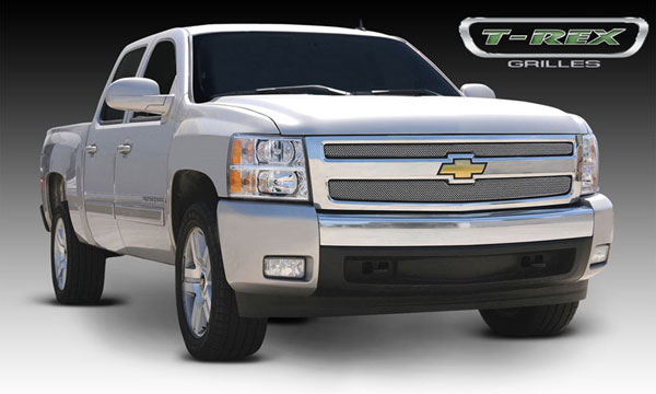 T-Rex 44110:  Chevrolet Silverado 1500 2007 - 2013 Sport Series Formed Mesh Grille - Stainless Steel - Triple Chrome Plated - 2 Pc