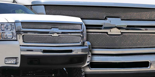 T-Rex 44112:  Chevrolet Silverado HD 2007 - 2010 Sport Series Formed Mesh Grille - Stainless Steel - Triple Chrome Plated - 2 Pc