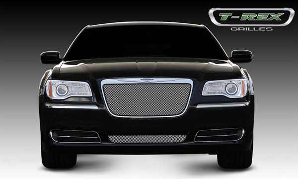 T-Rex 44433:  Chrysler 300 (All) 2011 - 2013 Sport Series Formed Mesh Grille - Stainless Steel - Triple Chrome Plated - Installs into OE / factory chrome grille surround