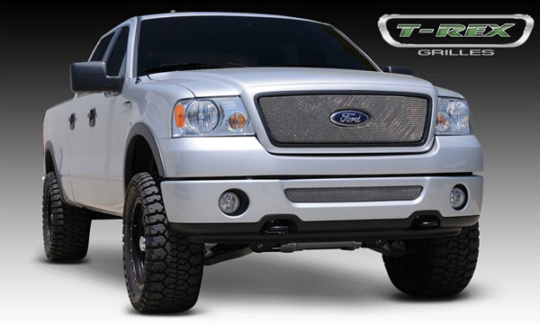 T-Rex 44556:  Ford F150 2WD and All Lariat Models 2004 - 2008 Sport Series Formed Mesh Grille - Stainless Steel - Triple Chrome Plated - w/ Logo Opening