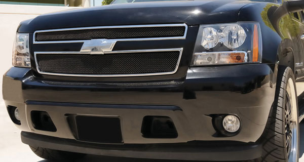T-Rex (46051)  Chevrolet Tahoe, Suburban, Avalanche 2007 - 2013 Sport Series Formed Mesh Grille - ALL Black Powdercoat - 2 Pc