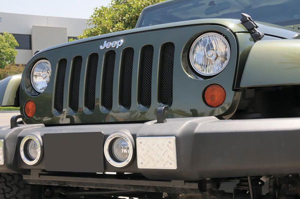 T-Rex 46481:  Jeep Wrangler 2007 - 2013 Sport Series Formed Mesh Grille (Installs behind factory grille) - Black