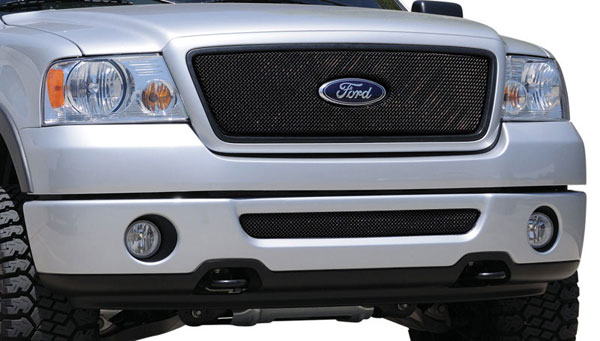 T-Rex 46556:  Ford F150 2WD and All Lariat Models 2004 - 2008 Sport Series Formed Mesh Grille - ALL Black Powdercoat - w/ Logo Opening