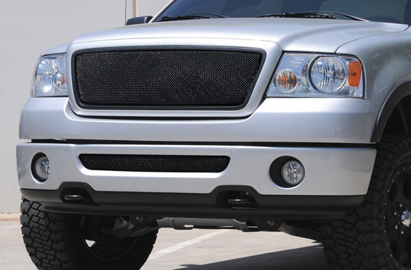 T-Rex 46557:  Ford F150 2WD and All Lariat Models 2004 - 2008 Sport Series Formed Mesh Grille - ALL Black Powdercoat (No Logo)
