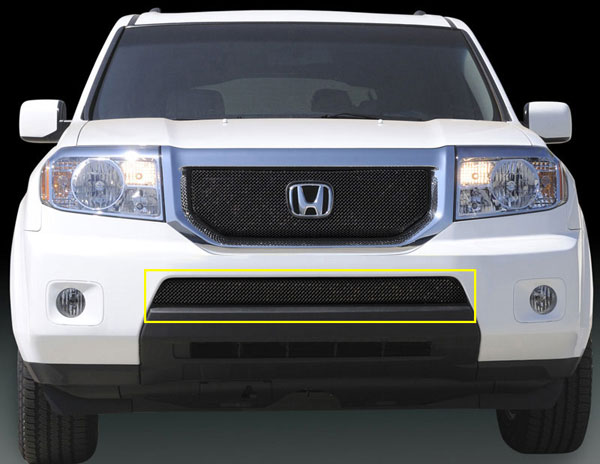 T-Rex 46705:  Honda Pilot 2009 - 2010 Sport Series Formed Mesh Grille - ALL Black Powdercoat - w/ Logo Opening
