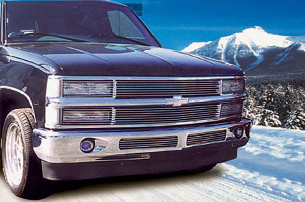 T-Rex 50065:  Chevrolet Pick Up 94-99 Suburban/Tahoe 1994 - 1998 Grille Assembly - Paintable - w/Phantom Billet & Bowtie Installed - No H/Lamp Recess