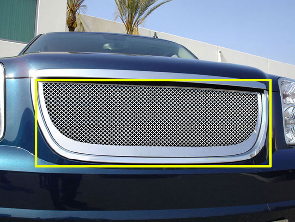 T-Rex (50172)  GMC Yukon 2007 - 2013 Grille Assembly - Aftermarket Chrome Shell - w/ Mesh (54171) Installed