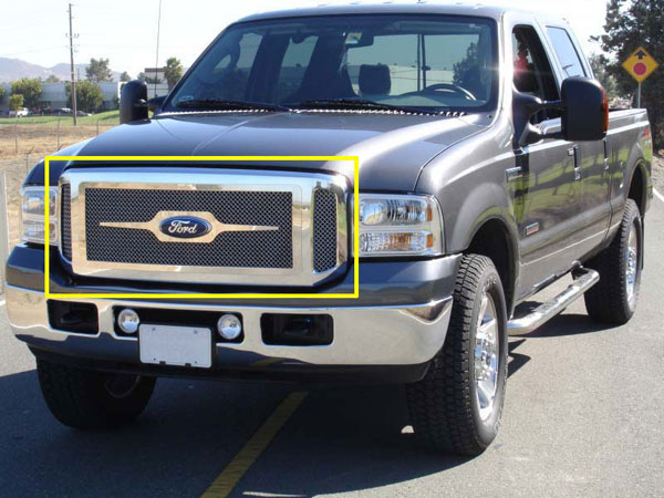 T-Rex 50562 |  Ford Super Duty, Excursion - Grille Assembly - Aftermarket Chrome Shell - w/ 3 Pc Look Billet (54561) Installed; 2005-2007