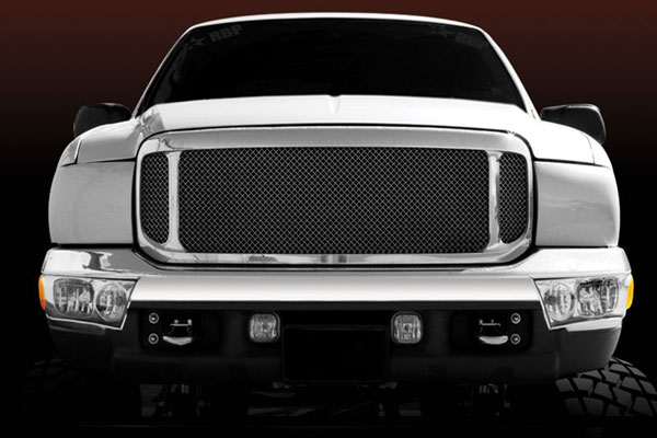T-Rex 50572:  Ford Super Duty (00-04 Excursion) 1999 - 2004 Grille Assembly - Aftermarket Chrome Shell - w/ ALL Black Mesh (51571) Installed