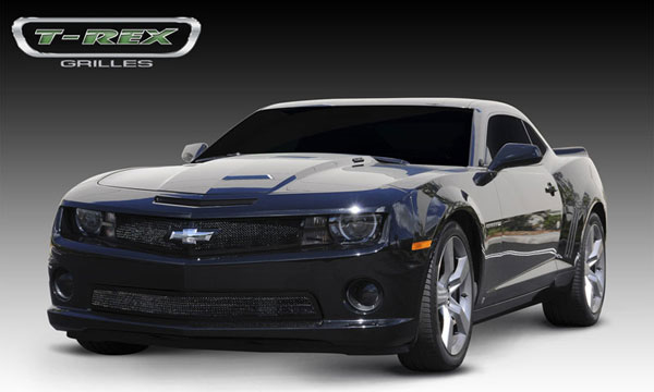 T-Rex 51027:  Chevrolet Camaro (ALL) 2010 - 2013 Upper Class Mesh Grille - All Black - w/ Formed Mesh & No Center bar - w/ Signal and OE Logo Openings