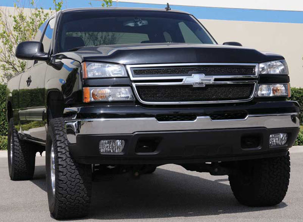 T-Rex (51106)  Chevrolet Silverado 2500HD, 3500 (All 2006 Models) 2005 - 2006 Upper Class Mesh Grille - All Black - 2 Pc Style