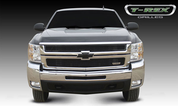 T-Rex 51112:  Chevrolet Silverado HD 2007 - 2010 Upper Class Mesh Grille - All Black - 2 Pc Style
