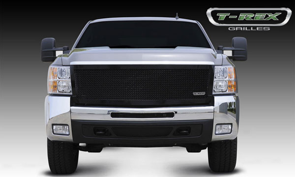 T-Rex 51113:  Chevrolet Silverado HD 2007 - 2010 Upper Class Mesh Grille - All Black - 1 Pc Style (Replaces OE Grille)