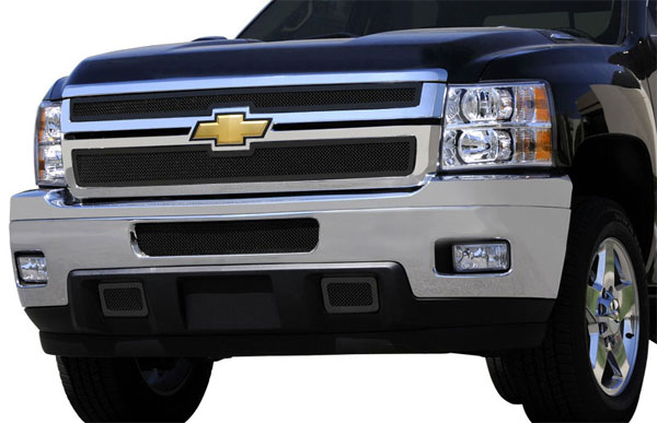 T-Rex (51114)  Chevrolet Silverado HD 2011 - 2012 Upper Class Mesh Grille - 2 Pc Style - All Black