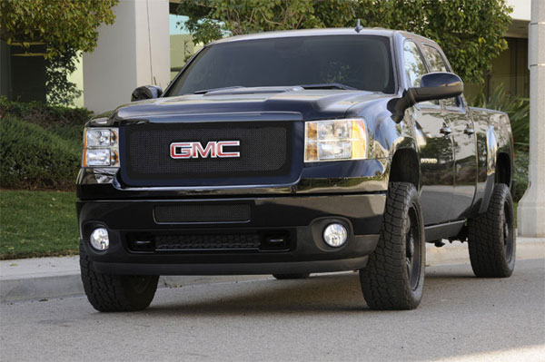 T-Rex 51210:  GMC Sierra 2500HD, 3500 2011 - 2011 Upper Class Polished Stainless Mesh Grille - Overlay w/ Logo Opening - All Black