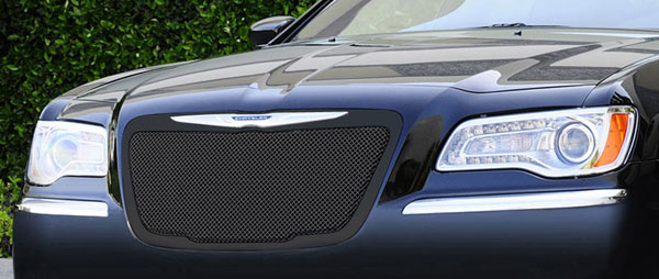 T-Rex 51433:  Chrysler 300 (All) 2011 - 2013 Upper Class Mesh Grille - All Black - With Formed Mesh Center - OE Logo installs on top of grille