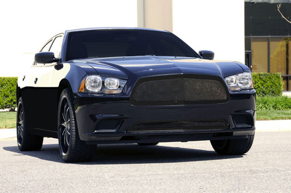 T-Rex (51441)  Dodge Charger 2011 - 2013 Upper Class Mesh Grille - Full Opening - All Black - With Formed Mesh Center